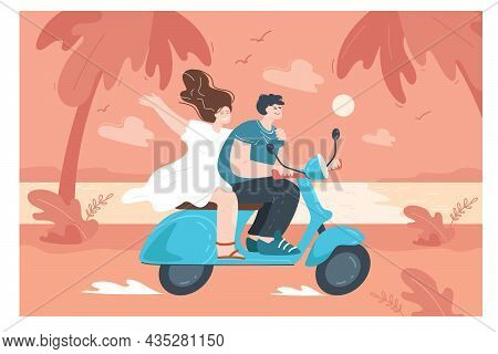 Happy Cartoon Boyfriend And Girlfriend Going On Trip By Moped. Young Man And Woman On Scooter Or Mot
