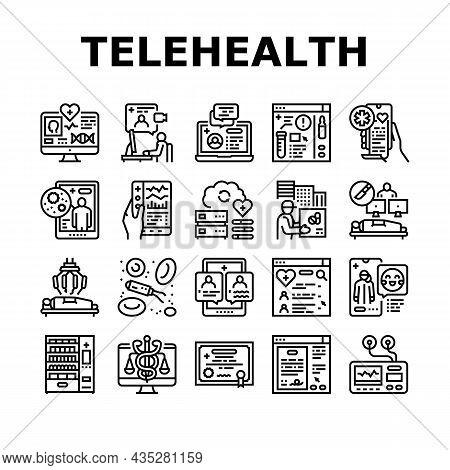 Telehealth Medicine Treatment Icons Set Vector. Telehealth Remote Video Consultation And Examining,