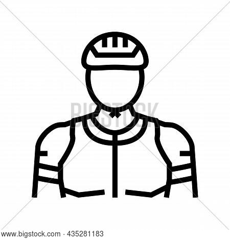 Male Cyclist Line Icon Vector. Male Cyclist Sign. Isolated Contour Symbol Black Illustration