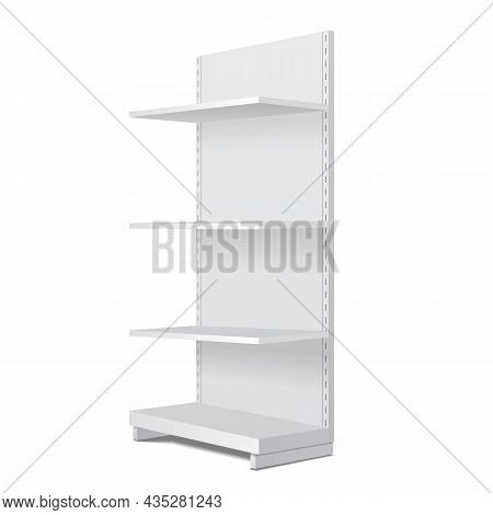 Mockup Long Blank Empty Showcase Display With Retail Shelves. Perspective View 3d. Illustration Isol