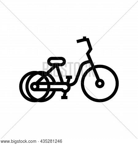 Tricycle Bicycle Type Line Icon Vector. Tricycle Bicycle Type Sign. Isolated Contour Symbol Black Il