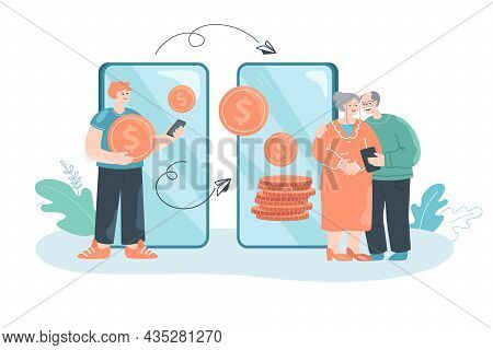 Cartoon Son Using Mobile App To Transfer Money To Old Parents. Young Man Sending Coins To Elderly Mo