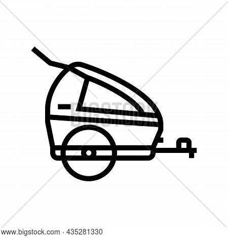 Trailer Kid For Bicycle Line Icon Vector. Trailer Kid For Bicycle Sign. Isolated Contour Symbol Blac