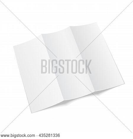 Mockup Blank Trifold Paper Leaflet, Flyer, Broadsheet, Flier, Follicle, Leaf A4 With Shadows. On Whi