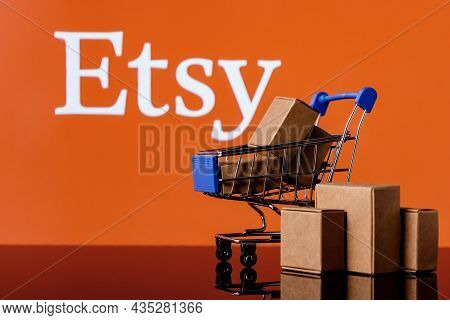 Kazan, Russia - Oct 6, 2021: Etsy Is American E-commerce Company Focused On Handmade Items And Craft