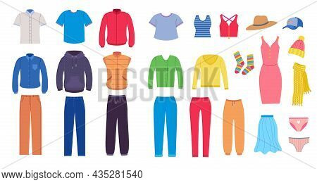 Set Of Clothes, Accessories For Man And Woman. Vector Illustrations Of Garment From Wardrobe. Cartoo