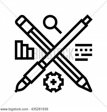 Content Strategy Line Icon Vector. Content Strategy Sign. Isolated Contour Symbol Black Illustration