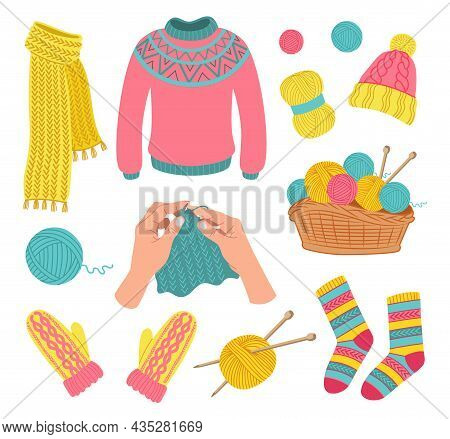 Knitted Woolen Clothes Set. Vector Illustrations Of Apparel, Wool Balls Of Yarn In Basket. Cartoon S