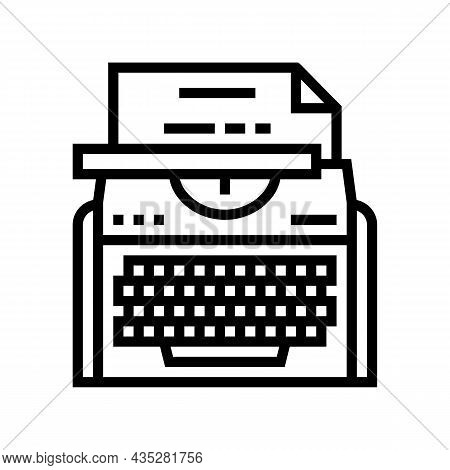 Typewriter Equipment Line Icon Vector. Typewriter Equipment Sign. Isolated Contour Symbol Black Illu