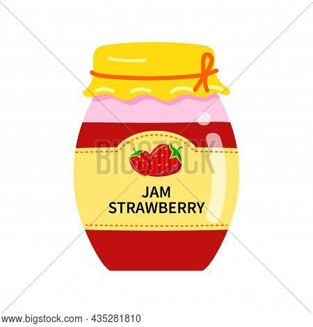 Glass Jar With Homemade Strawberry Jam. Label With Strawberries On A Jar Of Confiture.