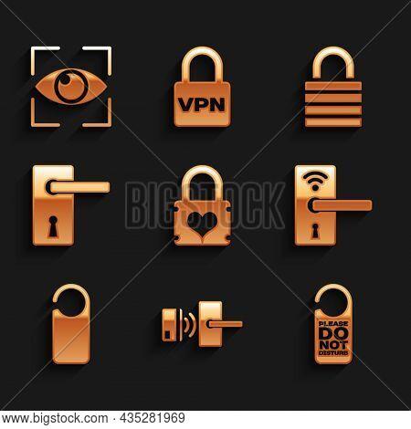 Set Padlock With Heart, Digital Door Wireless, Please Not Disturb, , And Door Handle Icon. Vector