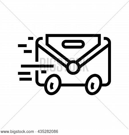 Express Mail Line Icon Vector. Express Mail Sign. Isolated Contour Symbol Black Illustration