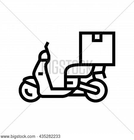 Motorbike Delivery Line Icon Vector. Motorbike Delivery Sign. Isolated Contour Symbol Black Illustra
