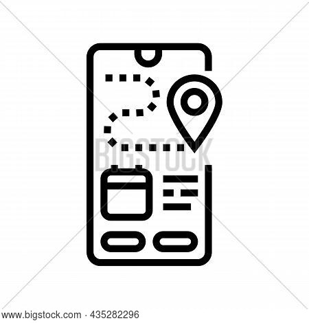 Tracking Delivery Line Icon Vector. Tracking Delivery Sign. Isolated Contour Symbol Black Illustrati
