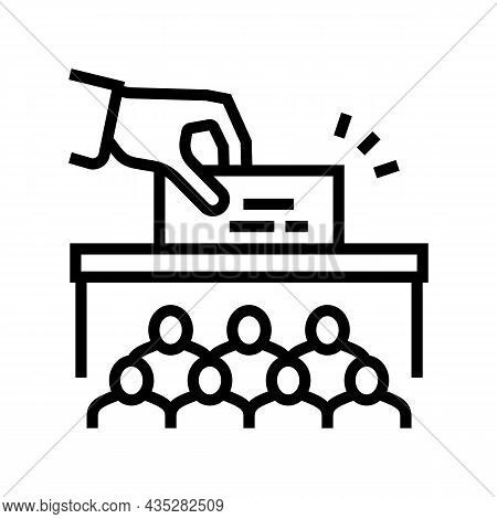 Voting Vote Box Politics Choice Election Line Icon Vector. Voting Vote Box Politics Choice Election