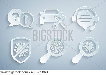 Set Microorganisms Under Magnifier, Headphones With Speech Bubble Chat, Stop Virus, Bacteria, Car Se