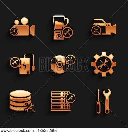 Set Cd Or Dvd Disk Service, Database Server, Screwdriver And Wrench, Wrench Screwdriver In Gear, Pow