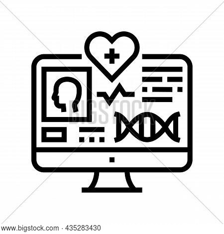 Telehealth Researching Line Icon Vector. Telehealth Researching Sign. Isolated Contour Symbol Black