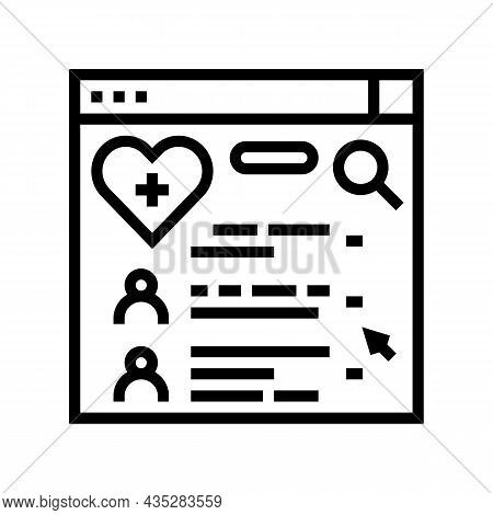 Doctor Search Online Web Site Line Icon Vector. Doctor Search Online Web Site Sign. Isolated Contour