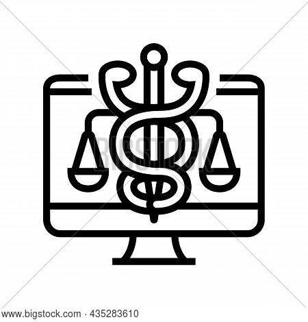 Telehealth Law Line Icon Vector. Telehealth Law Sign. Isolated Contour Symbol Black Illustration