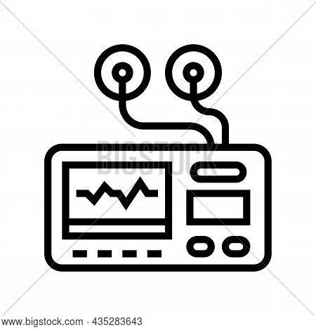 Portable Electrocardiogram Line Icon Vector. Portable Electrocardiogram Sign. Isolated Contour Symbo