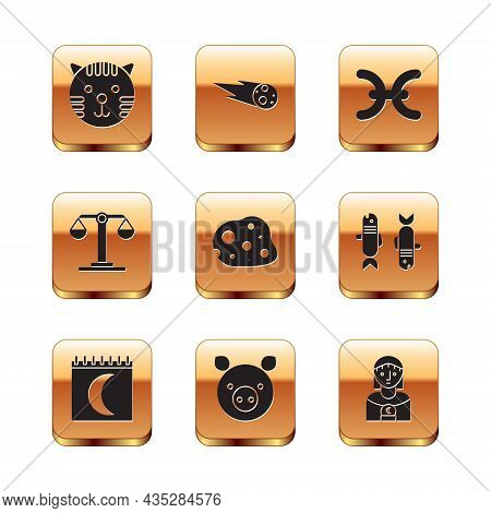 Set Tiger Zodiac, Moon Phases Calendar, Pig, Asteroid, Libra, Pisces, Astrology Woman And Comet Fall