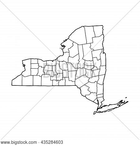 Outline Map Of New York White Background. Usa State,  Vector Map With Contour.