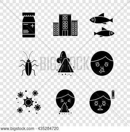 Set Medicine Bottle And Pills, Medical Hospital Building, Fish, Bacteria, Handkerchief To His Runny