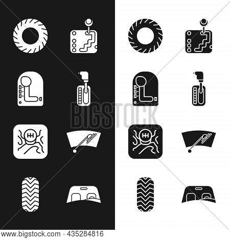 Set Gear Shifter, Car Tire, Windscreen Wiper, Windscreen And Icon. Vector
