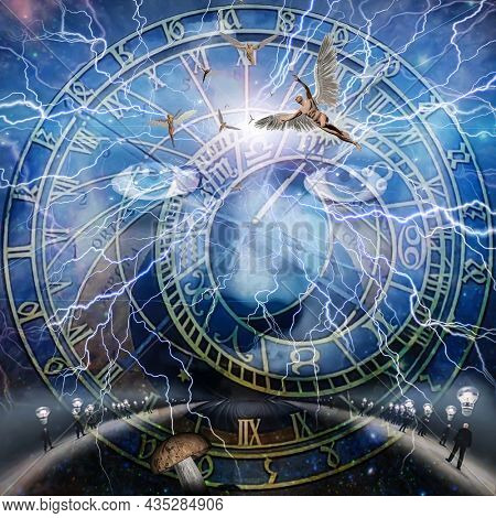 Mystic face, angels and astronomic clock. 3D rendering.