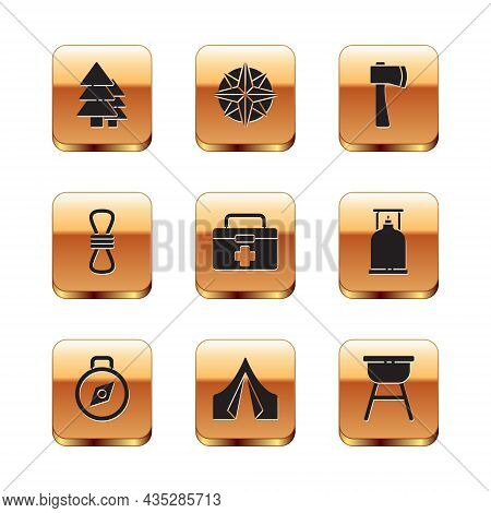 Set Tree, Compass, Tourist Tent, First Aid Kit, Climber Rope, Wooden Axe, Barbecue Grill And Wind Ro