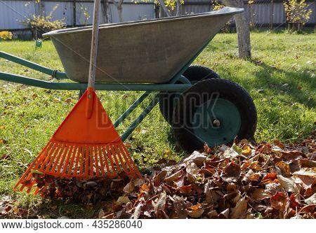 Final Garden Work Of Autumn. Wheelbarrow In The Garden. Garden Wheelbarrow, Rake And Branches, A Pil