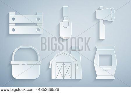 Set Farm House, Wooden Axe, Basket, Fertilizer Bag, Garden Trowel Spade Or Shovel And Box Icon. Vect