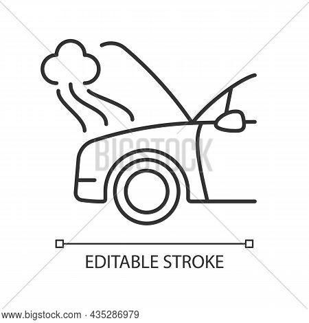 Car Engine Damage Linear Icon. Front End Collision. Mechanical Breakdown. Broken Transmission. Thin