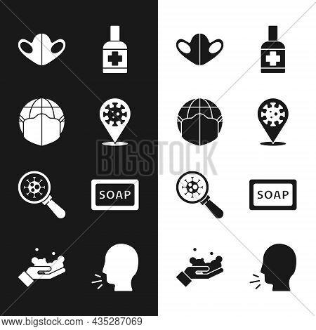 Set Corona Virus 2019-ncov On Location, Earth With Medical Mask, Medical Protective, Liquid Antibact
