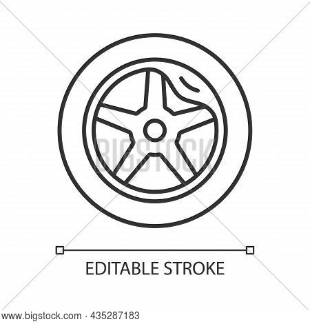 Wheel Damage Linear Icon. Collision Damaged Vehicle. Driving On Cracked Rim. Uneven Wear In Tires. T