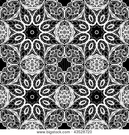 White abstract seamless pattern like as lace against the black background poster