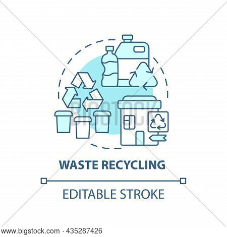 Waste Recycling Blue Concept Icon. Garbage Management Abstract Idea Thin Line Illustration. Reproces