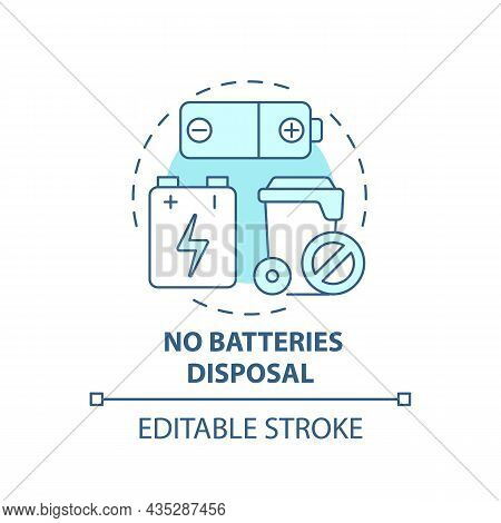 No Batteries Disposal Blue Concept Icon. Waste Management Abstract Idea Thin Line Illustration. Alka