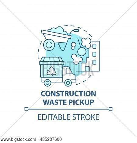 Construction Waste Pickup Blue Concept Icon. Waste Management Abstract Idea Thin Line Illustration.