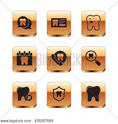Set Tooth, With Caries, Dental Protection, Online Dental Care, Calendar Tooth, And Card Icon. Vector