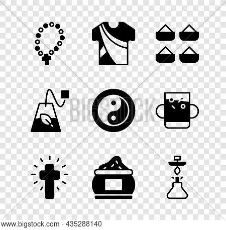 Set Rosary Beads Religion, Indian Man Dress, Christian Cross, Hookah, Tea Bag And Yin Yang Icon. Vec