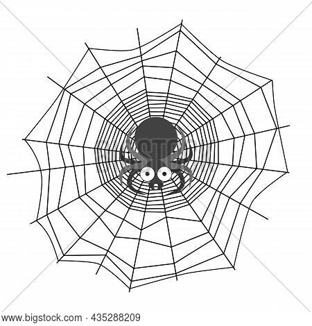 Black And White Vector Illustration Of Spider In Spiderweb Center. Dangerous Spider Weaves Trap. Ter