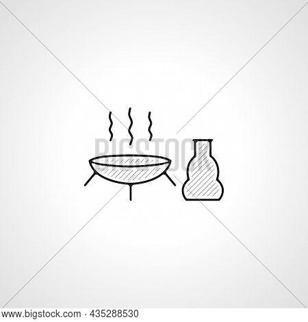 Aromatherapy Vector Thin Line Icon. Aromatherapy Hand Drawn Thin Line Icon.