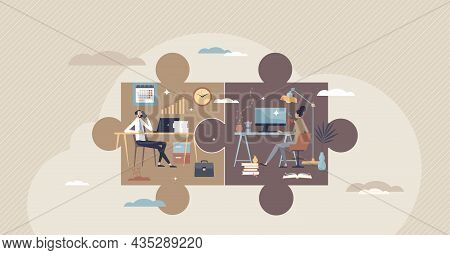 Hybrid Work With Part Time Job From Home And Office Tiny Person Concept. Scheduled Workspace Locatio