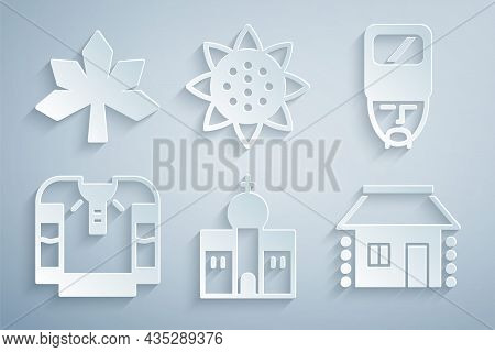 Set Church Building, Ukrainian Cossack, Embroidered Shirt, House, Sunflower And Chestnut Leaf Icon.
