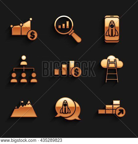 Set Pie Chart And Dollar, Startup Project Concept, Financial Growth, Stair With Finish Flag, Mountai
