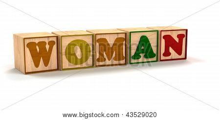 Woman Spelled  Child Color Blocks Isolated on White