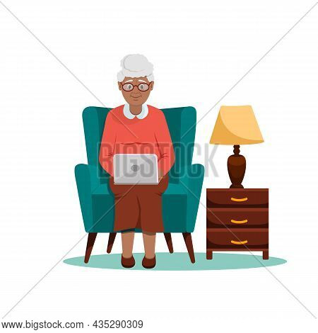 African American Grandmother Sits In A Green Chair With A Laptop. There Is A Lamp Nearby. Flat Style