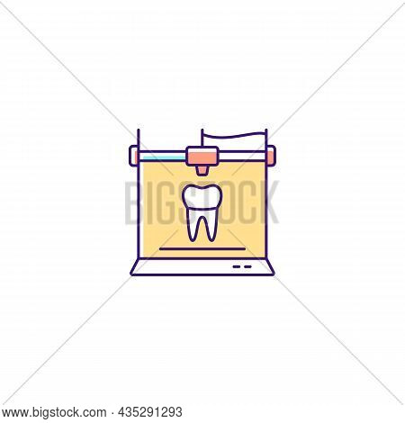 3d Printing For Dentistry Rgb Color Icon. Dental Implants Production. Innovation In Medical Field. C
